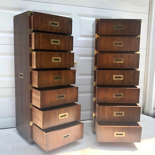 Henredon Pair Campaign Style Lingerie Dressers by Henredon For Sale - Image 4 of 13