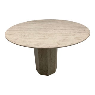 Italian Round Pedestal Travertine Dining Table For Sale