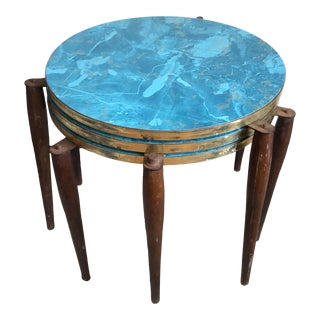 Mid Century Faux Blue Marble Brass Stacking Tables - Set of 3 For Sale