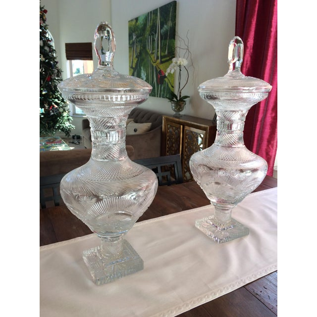 This is a magnificent pair of crystal Jars with a combination of complex elements of decoration. They are composed of one...