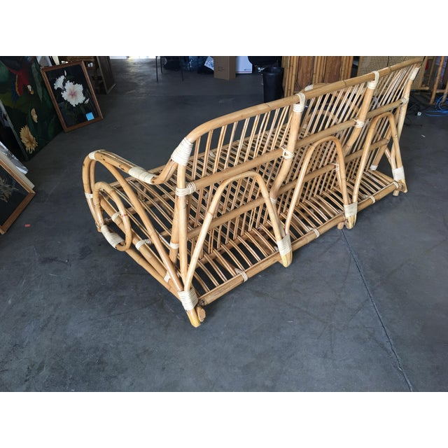 "Bamboo Restored Two-Strand ""Circles and Speed"" Three Seat Rattan Sofa For Sale - Image 7 of 9"