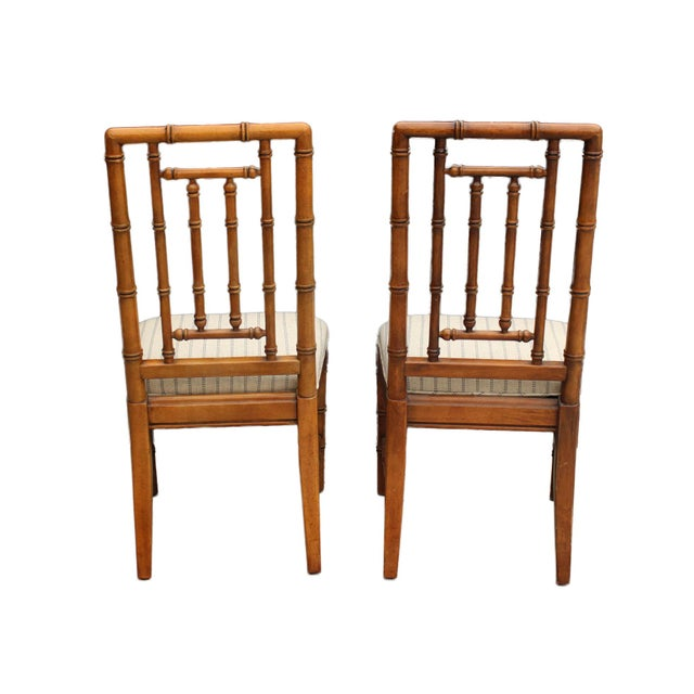 Mid-Century Modern Faux Bamboo Solid Wood Chairs by Dixie Furniture - Pair For Sale - Image 3 of 6