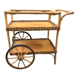 Antique Withrow Oriole Rattan Wheeled Serving Bar Cart For Sale