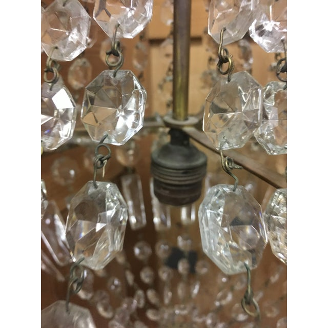 Early 20th Century Italian Crystal Single Light Chandelier For Sale - Image 10 of 11