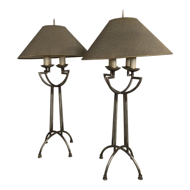 1970s Woven Shade Iron Lamps - a Pair For Sale