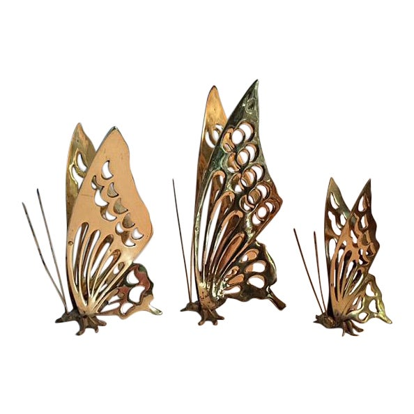 Vintage Brass Butterfly Figurines - Set of 3 - Image 1 of 4