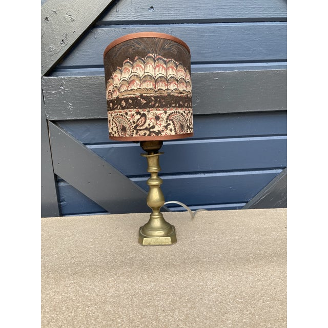 Petite Brass Lamp With Sconce Shade For Sale - Image 11 of 11