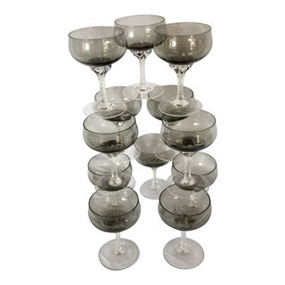 12 Mid-Century Noritaki Sasaki Coronation Smoky Champagne Coupes With Clear Floral Twist Stem For Sale