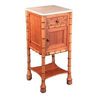 Faux Bamboo Nightstand or Bedside Table For Sale