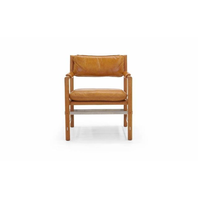 All original, excellent condition, Edward Wormley for Dunbar armchair. Leather seat and back. Mahogany frame with brushed...