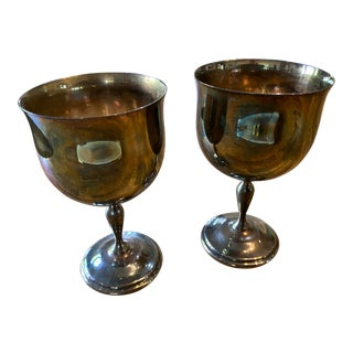 Reed & Barton 5610 Silver Plated Goblets - a Pair For Sale