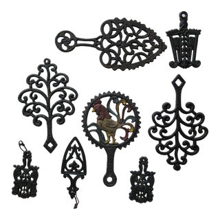 Vintage Cast Iron Trivet Collection-8 Pieces For Sale