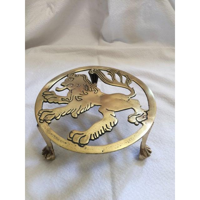 English Brass Lion Trivet For Sale - Image 4 of 7