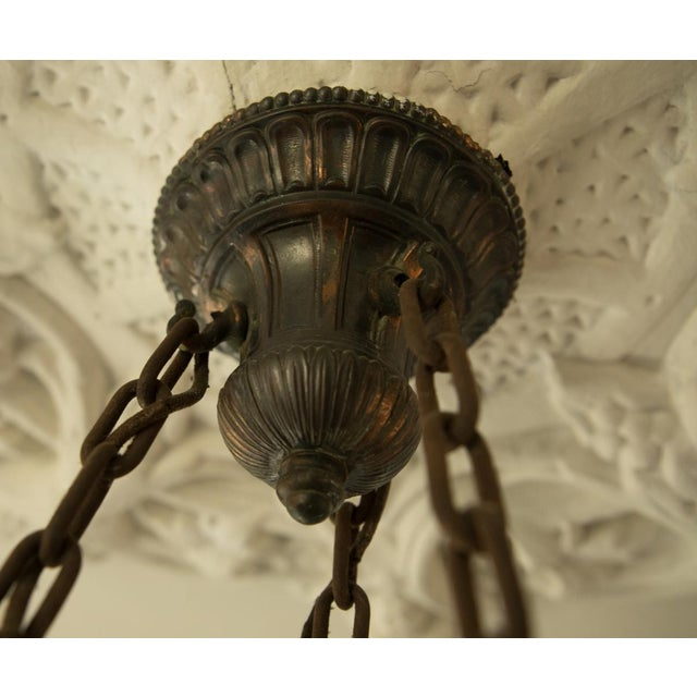Pair of Two Victorian Original Flush Mount Chandelier - Image 3 of 8