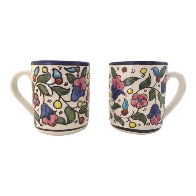 Vintage Jerusalem Pottery Armenian Floral Ceramic Hand Painted Mugs - a Pair For Sale