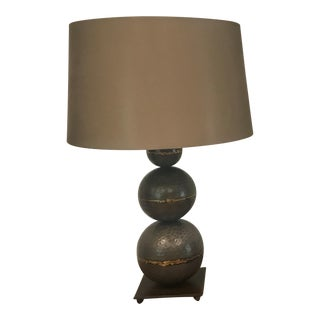Industrial Metal Lamp With Brass Accents For Sale