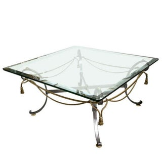 Fine Tassel and Ribbon Form Brass and Steel Coffee Low Table For Sale