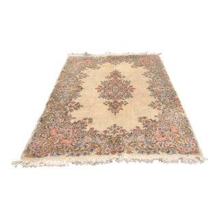 Vintage Persian Kerman Carpet Ivory Rug - 3′10″ × 6′4″ For Sale
