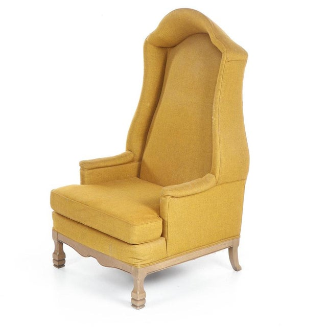 Vintage Mid-Century Porter's Chair in Mustard Wool Upholstery on a Limed Wood Base For Sale - Image 4 of 13