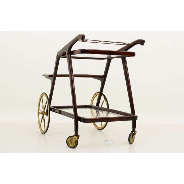 Wood Mid-Century Modern Italian Cesare Lacca Service Cart For Sale - Image 7 of 9
