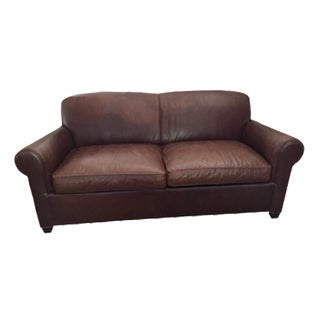 Crate & Barrel Leather Club Sleeper Sofa