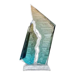 Contemporary Modern Lucite Acrylic Reaction Sculpture Blue Orange by Haziza For Sale