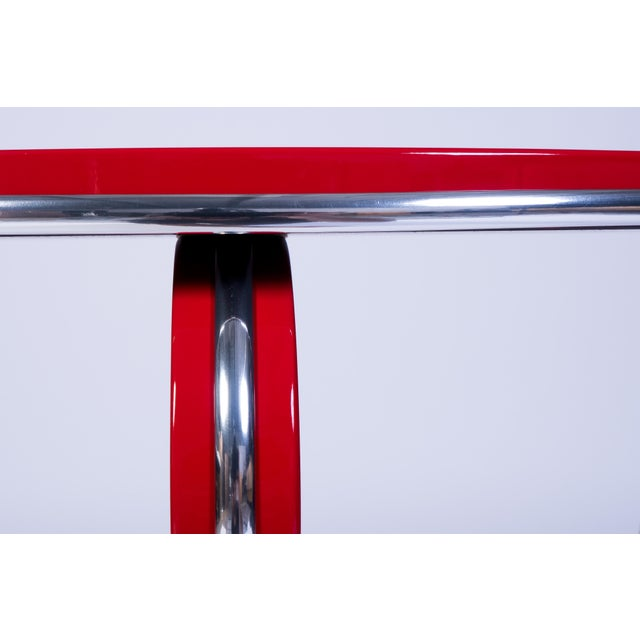 Art Deco Style Side Table in Crimson Lacquer For Sale - Image 4 of 5