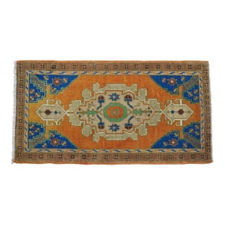 "Front of Kitchen Sink Rug Hand Made Bath Mat Faded Mini Rugs 1'11"" X 3'8"" For Sale"