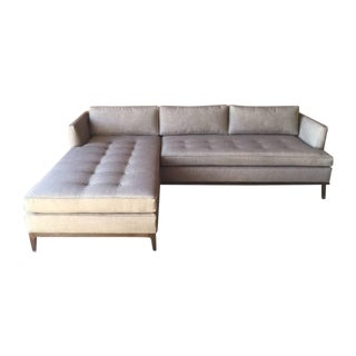 Modern Tufted Reversible Chaise Sofa For Sale