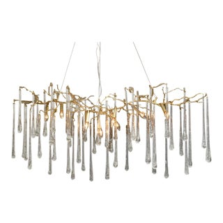 Striking Gilt Metal Chandelier With Crystal Drops For Sale