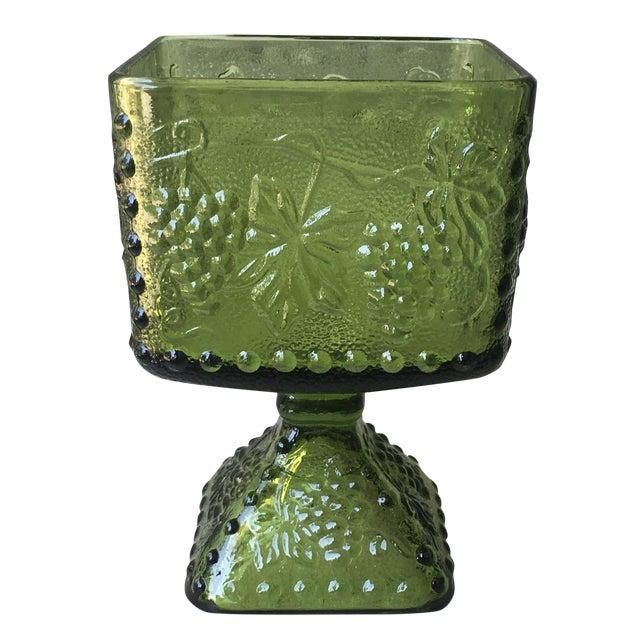 Vintage Green Glass Grapes Pedestal Planter - Image 1 of 7