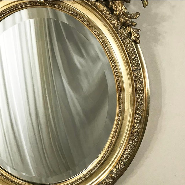 Giltwood 19th Century French Louis XV Gilded Mirror With Cherub For Sale - Image 7 of 11