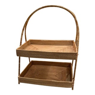 Rattan Double Height Tray For Sale