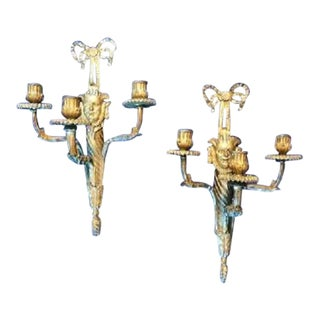 French Louis XVI Three Light Dore' Bronze Sconces - a Pair For Sale