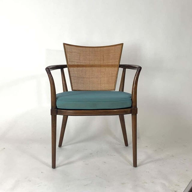 Johnson Furniture Co. Pair of Sculptural Bert England Brass, Cane & Carved Walnut Arm or Dining Chairs For Sale - Image 4 of 13