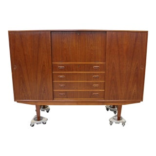 Mid-Century Danish Modern Omann Jun Teak Secretary Credenza Highboard For Sale