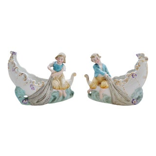 Antique German Victorian Bisque & Porcelain Girl & Boy in Boat with Fishing Nets - a Pair For Sale