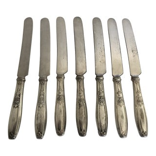 French Style Antique Silver Plate Ambassador Pattern Hollow Knives S/7 For Sale