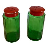 Image of French Country Green and Orange Glass Salt and Pepper Shakers - a Pair For Sale