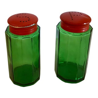 French Country Green and Orange Glass Salt and Pepper Shakers - a Pair For Sale