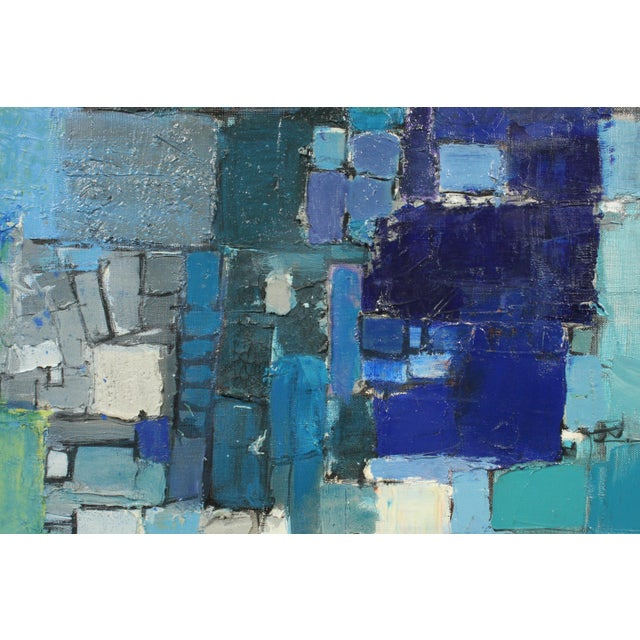 Canvas Mid-Century Blue Square Abstract Tommy Hansen For Sale - Image 7 of 10