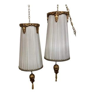 Gold Embelished Pendant Swag Lamps - A Pair For Sale