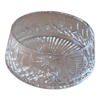 Vintage Lismore Waterford Crystal Round Bowl, Signed For Sale
