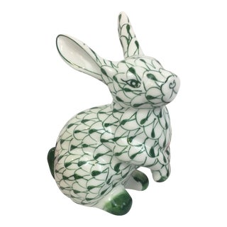 Herend Style Hand Painted Green and White Fishnet Seated Rabbit Figurine For Sale