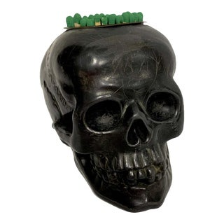 Antique German Gunmetal Skull Match Holder/Strike For Sale