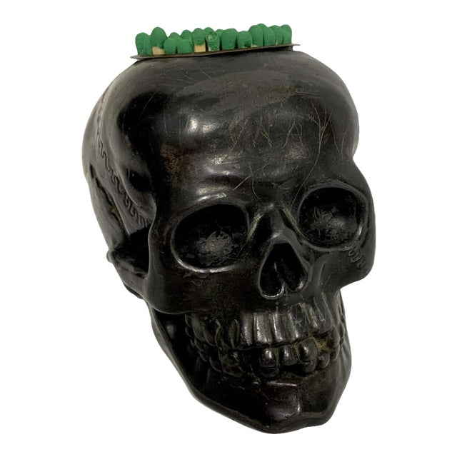 Antique German Gunmetal Skull Match Holder/Strike For Sale