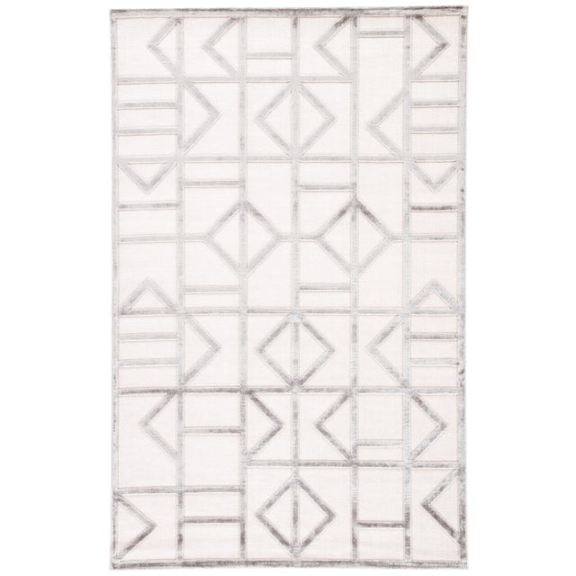 Jaipur Living Cannon Geometric White/ Silver Area Rug - 9′ × 12′ For Sale