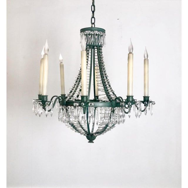Metal Baltic Metal and Crystal 6 Light Chandelier, Sweden Circa 1920 For Sale - Image 7 of 7
