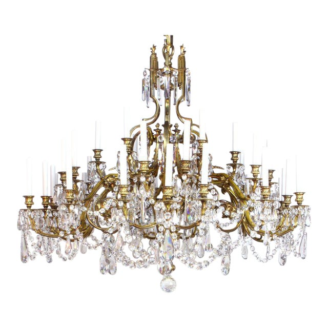 French Gilt Bronze and Crystal 36 Light Chandelier For Sale