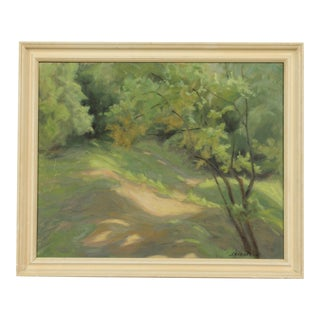 Impressionist Green Forest Landscape by Ole Skibstrup For Sale